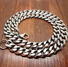 Heavy Silver Tone 316L Stainless Steel Curb Chain Men's Bracelet Necklace 15mm
