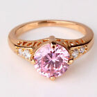 Yellow Gold Filled Pink Cubic Zirconia Graduated Style Dress Ring - UK Seller