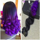 BALAYAGE OMBRE CLIP IN REMY HUMAN HAIR EXTENSIONS BLACK BROWN PURPLE WAVY HAIR