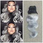 10A Ombre T1B/Grey Hair Bundles Human Hair Weft Gray Hair Weaves Extensions