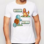 Pokemon White T-Shirt Charmander vs Squirtle Battle Graphic Tee Unisex Men Women