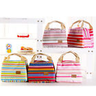 Top Sale Portable Insulated Cold Canvas Stripe Picnic Carry Case Lunch Bag VNC