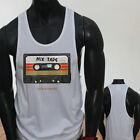 CASSATE MIX TAPE OLD SCHOOL VINTAGE MUSIC BOOMBOX Mens White Sports Tank Top