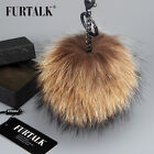 Real Raccoon fur Ball Pom poms Keyring Bag Cell phone Pendant Women's keychain