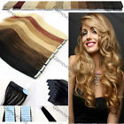 """16-24"""" PU Seamless Skin Tape in Ombre Hair Remy Human Hair Extensions Straight"""