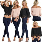 WOMENS LADIES OFF THE SHOULDER BARDOT SEXY CROPPED TOP DRESS SHIRT UK SIZE 8-12
