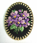 Vintage Oval Brooch Embroidered Violet Flowers Doll House Accessory