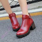Womens Preppy Style Ankle Boots Platforms High Cuban Heel Buckle Stylish Shoes