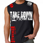 Take Down Fight Gear Skull Muscle Sleeveless Shirt Top UFC MMA w Tapout Sticker