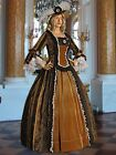 Medieval Renaissance Style Dress Gown Brown Baroque Damask Brocade