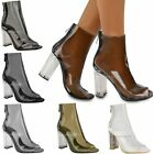 New Womens Ladies Ankle Boots Clear Perspex Block High Heels Fashion Shoes Size