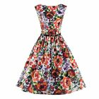Fashion Women Vintage Floral Printed Rock Swing Cocktail Dress Business Party