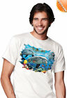 New Solar tran Unisex Swimming Dolphin Friends Print T Shirt Colour Changing