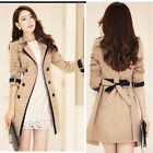 B&N Women Double-Breasted Trench Coat Suit Long Sleeve Jacket Korean Fashion