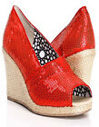 Ladies Sequins Fabric Overlay Espadrille Peep Toe Wedge Blue Red NEW