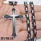 5mm Men Cross Gold Silver Black Byzantine Chain Stainless Steel PENDANT NECKLACE