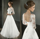 New Arrival Applique Half Sleeve Tulle White/Ivory Wedding Dress Stock Size 4-18