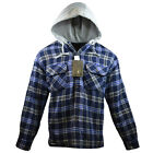 NWT Men's Plaid Flannel Hooded Shirt Button Front Jacket cotton Poly Blue gift