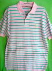 Polo Ralph Lauren Shirt Pink Green Striped Mesh Knit Polo Shirt Large Pony Logo