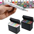 80 Color Twin Tip Pen Marker Touch Graphic Markers Broad Fine Point W/ Bag Craft