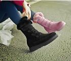 women mid calf boots nubuck leather buckle wedge heel fur edge side zipper shoes