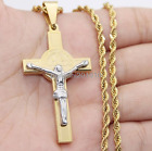 3mm Mens Silver Gold Tone Stainless Steel Cross Jesus Pendant Necklace 18-40inch