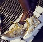 New Womens Floral Fashion Gold High top Round Toe Punk Lace up Sneakers Shoes