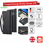 Samsung Galaxy & iPhone Real Leather Envelope Hand Bag ID Card Wallet Case Cover