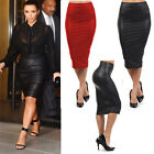 Chic Womens Sexy Faux Leather High Waist Pencil Bodycon Dress Popular JYL