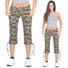 New Army Military Green Camouflage Slim Stretch Combat Cargo Shorts 3/4 Trousers