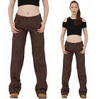 New Womens Dark Brown Lightweight Wide Loose Leg Cargo Pants Combat Trousers