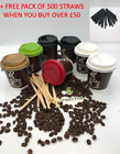 Disposable PAPER COFFEE TEA DRINKS CUPS DOUBLE WALL 8oz &Sip Lids for Hot Drinks