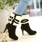 Elegant Women shoes Faux Suede High Heel winter Warm Strappy Buckle Ankle Boots