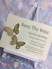 25 Glitter Butterfly Wedding Save The Date Cards  ** 27 Colours**