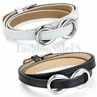 Women Leather Stainless Steel Love Infinity Bracelet Charm Cuff Bangle Wristband