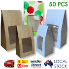 50 pcs KRAFT Paper Box with Window Candy Lolly Party Gift (Window Pouch)