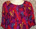 Go Softly Patio Dress Button Front Crinkle Muu Bright Butterfly Purple Red NWT