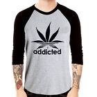 Addicted funny CHEF CANNABIS cotton Baseball Jersey t-shirt 3/4 sleeve Raglan