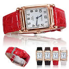 Men Women Leather Band Casual Watches Square Dial Quartz Analog Wrist Watch New