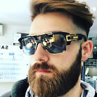 Oversized Square Aviator Gold Metal Bar Black Men Grand Designer Sunglasses