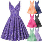 Vintage Retro 50s Swing Pinup Girls Polka Dot Evening Party Prom Dress Housewife