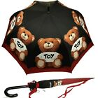 Umbrella MOSCHINO Big Black with red frame and teddy toy 8254