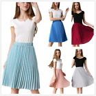 New Womens Ladies High Elastic Waisted Candy Color Pleated Casual Chiffon skirt