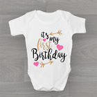 It's My First 1st Birthday Girls, Cute Baby Grow Body Suit Vest One Cute Hearts