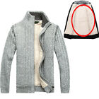 Men's Winter Casual Sweater Collar Coats Knitted Slim Jackets Knitwear Cardigans