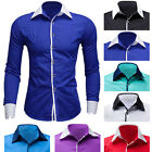 Luxury Mens Formal Slim Fit Work Dress Shirt Long Sleeve Collared Casual Top New
