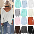 Plus Size Women Long Sleeve Knitted Sweater Pullover Jumper Tops T Shirt Blouse