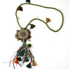 New Arrived Feather Circle Tassel Pendants Long Wood Beads Necklaces for Dress