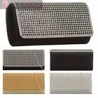 LADIES NEW DIAMANTE GOLD SILVER CHAIN STRAP PARTY EVENING CLUTCH BAG PURSE