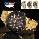 New Mens Black Dial Gold Stainless Steel Date Quartz Analog Sport Wrist Watch